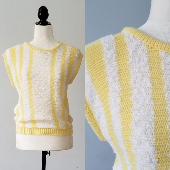 Vintage Sweaters - Vintage Yellow and White Striped Pullover Top